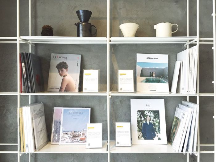 Shelf Store Book Magazine Display Indoors  Decoration Interior Design Clean Simplicity Enjoying Life
