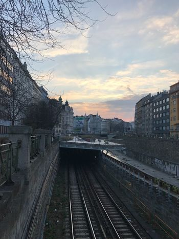 Old Town Subway Railroad Track Rail Transportation Transportation Built Structure Sky Architecture Building Exterior No People Railway Track Public Transportation Outdoors Cloud - Sky Sunset Day City Nature