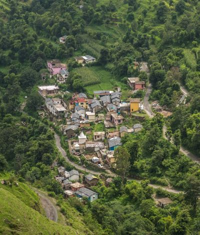 The colorful hamlet. No People High Angle View Green Color Travel Photography Mountain Hamlet Himalayas Himachalpradesh Travel Village Outback India Nikon D750 Nikon Remote Location Road Less Travelled Mountains Wilderness Natgeotravellerindia Natgeoyourshot Getty Images Lonelyplanet Landscape Non-urban Scene Outdoors