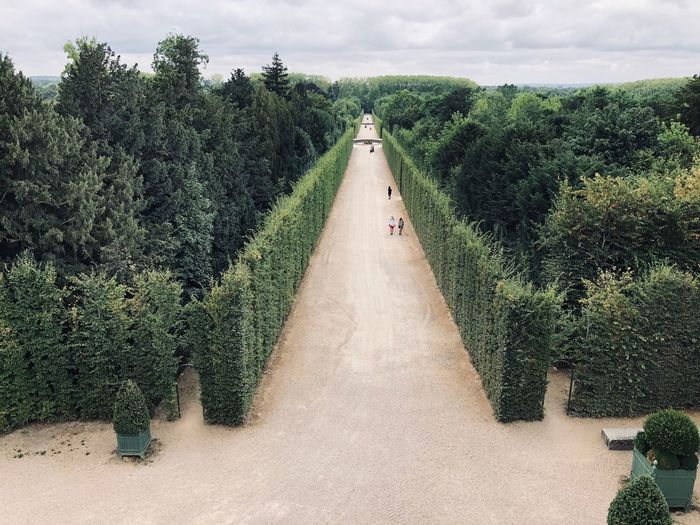 Panoramic view of gardens against sky