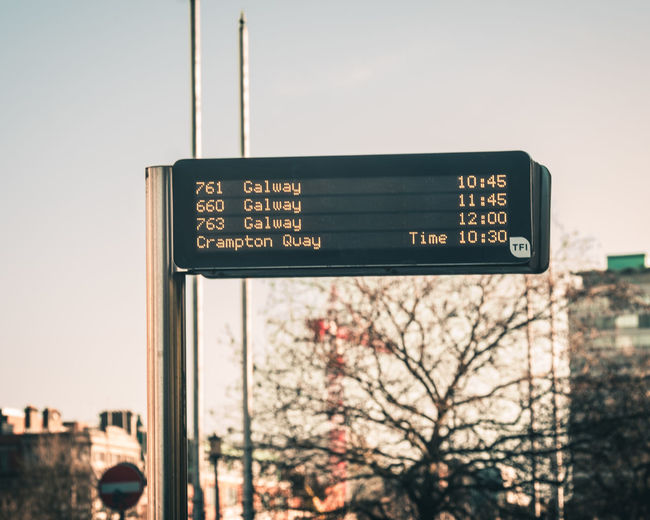 Bus sign for the next arriving buses, The Quays Dublin Ireland City City Life Cityscape Clear Sky Commuter Commuting Sign Timetable Transport Transportation Bus Bus Stop Bus Times Led Lights  Outdoor Sign Road Sign Street Streetphotography