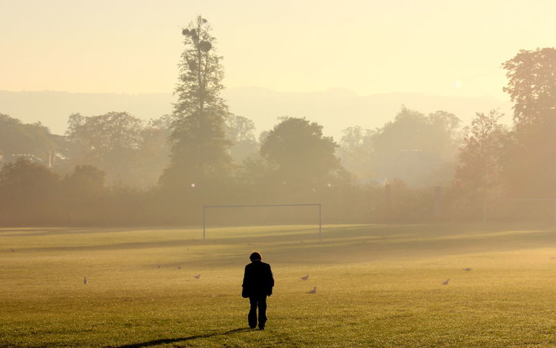 Rear view of man walking on playing field in foggy weather