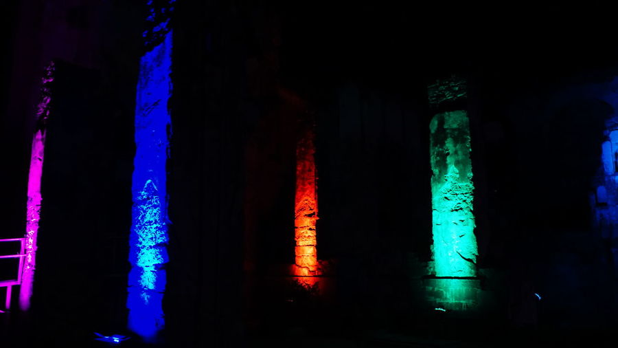 Lighting Pillars-Low Light Photography EyeEm Selects Illuminated Night No People Indoors  Multi Colored Neon Close-up Sony Alpha A6000 Sony Nwin Photography Sonyalpha Low Light Photography Golkonda Fort, Hyderabad Monuments Of India Light Show