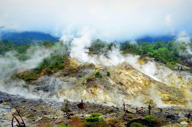 Mountains Sulfur Gas Kawahratu Hugging A Tree Gunungbundar Landscapes With WhiteWall