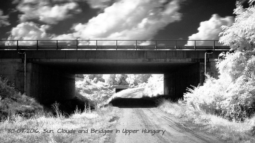 Sun, clouds and bridges in Upper Hungary Architecture B+W Beauty Blackandwhite Bridge Built Structure Cloud Cloud - Sky Day Infrared Infrared Photography Nd No People Outdoors Scenics Sky Summer Sunny Tranquil Scene Tranquility