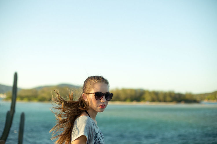 Giulia This Is Natural Beauty Water Young Women Clear Sky Portrait Happiness Lake Summer Headshot Fun Sunglasses