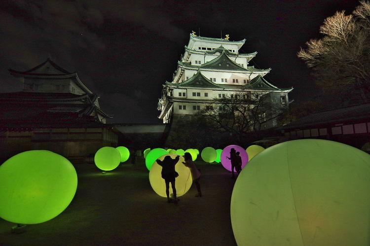 名古屋城 チームラボ「浮遊する、呼応する球体」 名古屋城 Nagoya Castle Night Night Photography Light And Shadow Ball