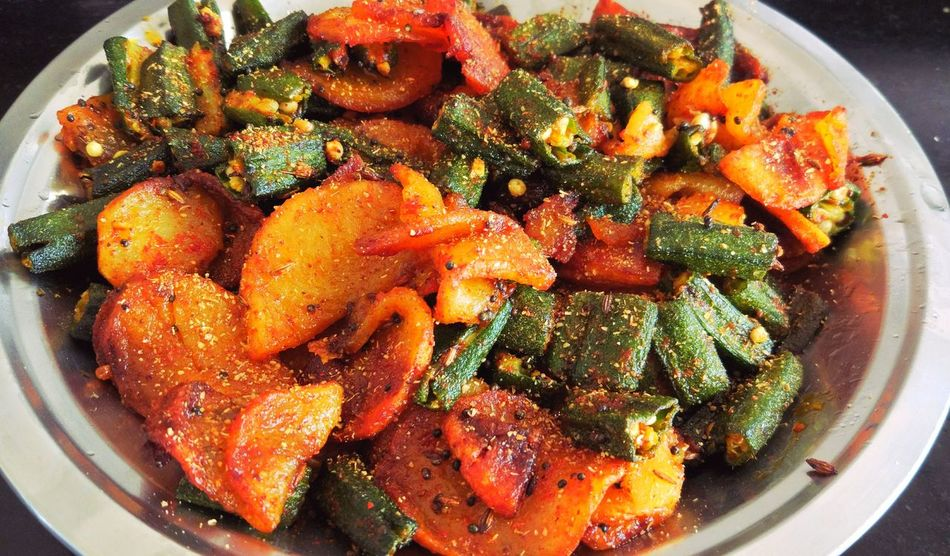 Crispy Potatoes and Crispy Lady Fingers with Indian Spices Spicy Food Lunch Is Ready