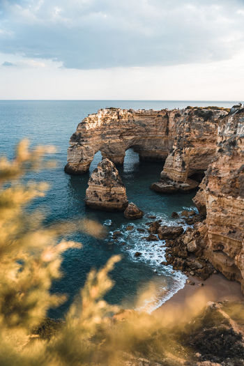 The beautiful praia da marinha beach in the algarve in portugal