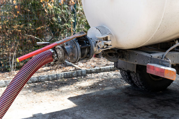 Sewage pipe attached to truck