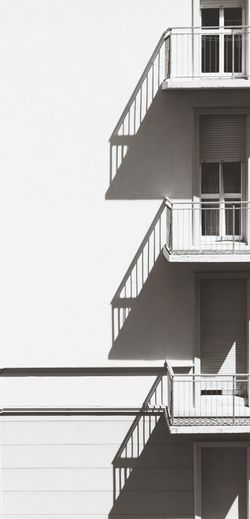 Blackandwhite Photography Shadows On The House Wall Building Exterior No People Three Balconies Balcony Balustrade Outdoors Abstractphotography Vertical And Horizontal Lines