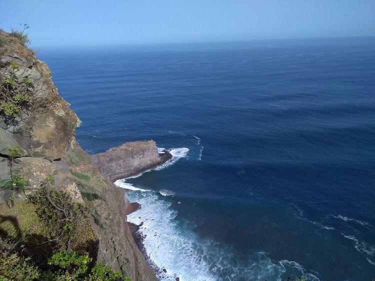 Wharf Water Nature Sky Blue Sea High Angle View São Jorge Madeira Island