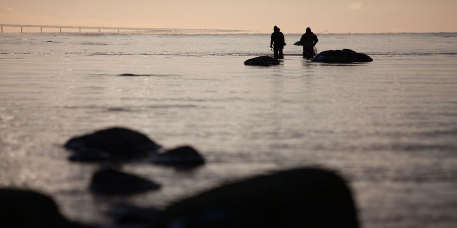Gone fishing Beach Flshing Horizon Over Water Outdoors Sea Sea Trout Silhouette Two People Water