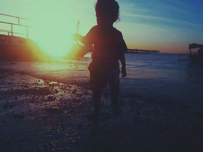 Children Only Child Sunset Silhouette One Person Water Standing Girls Fun Sky Beach