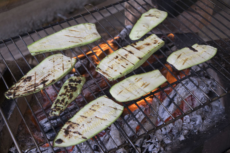 High Angle View Of Zucchini On Barbecue Grill