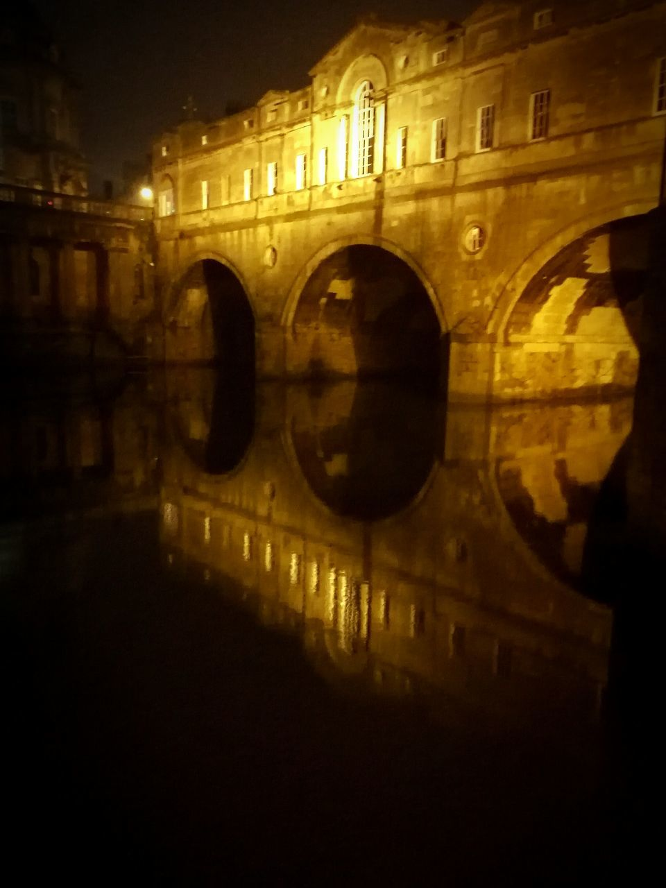 reflection, arch, architecture, illuminated, night, built structure, building exterior, outdoors, water, no people, close-up, sky