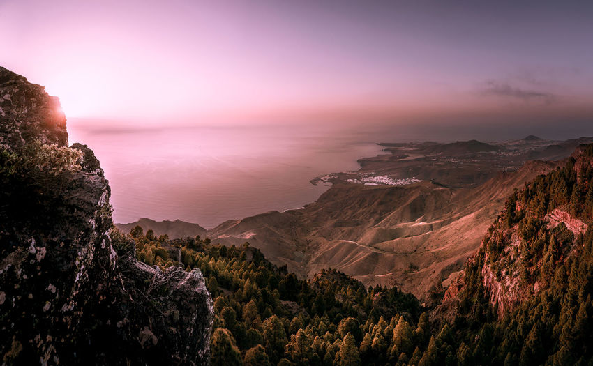 Panoramic Sunset GranCanaria Mountain Cliff City Cloud - Sky Pink Color EyeEmNewHere My Best Photo