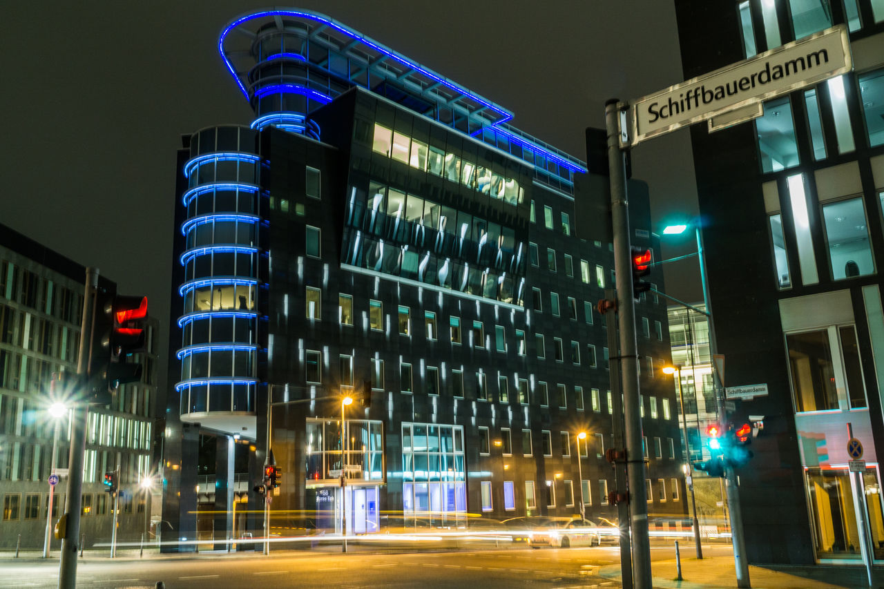 illuminated, night, architecture, city, building exterior, modern, outdoors, no people, sky