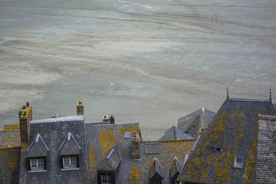 view from Mont-Saint-MIchel Bretagne Brittany Church Cloister France Monestary Mont-Saint-Michel  Mudflat Negative Space Normandie Normandy Ocean Old Town Roofs Sea Windows