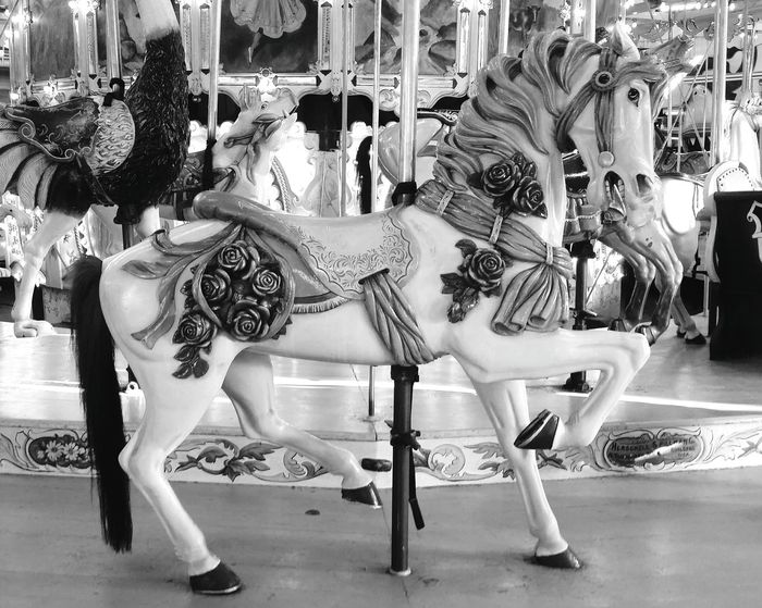Carousel Merrygoround Carousel Horse Animal Themes Animal Representation Blackandwhite Enjoyment History Tourism Black And White Travel Destinations Vacations Memories Horse OceanCity Maryland Boardwalk Monochrome Photography