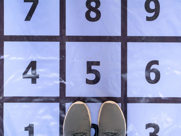 Directly above shot of shoes on numbers