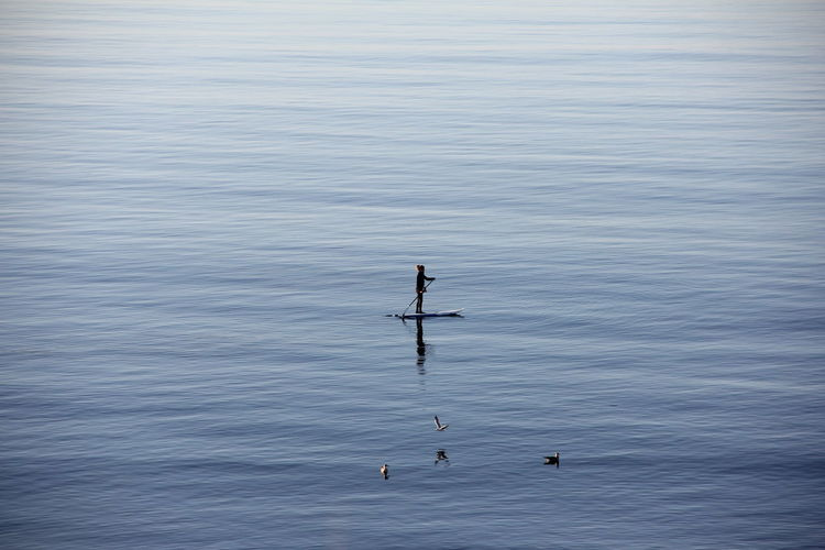 Man paddleboarding in sea
