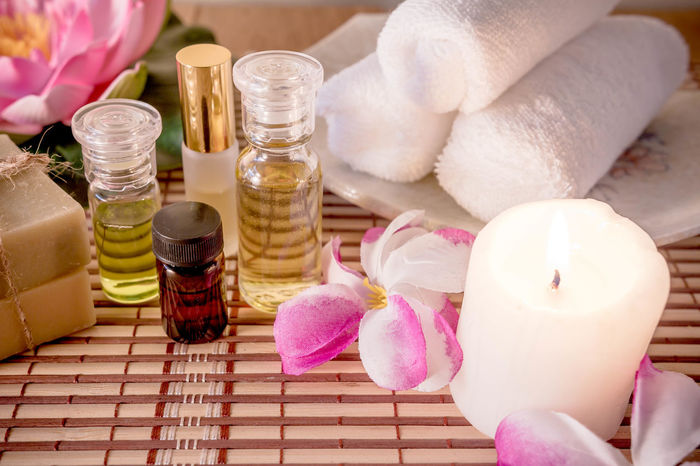 Alternative Therapy Aromatherapy Aromatherapy Oil Beauty Spa Beauty Treatment Body Care Bottle Candle Close-up Day Flower Freshness Health Spa Healthcare And Medicine Indoors  Nature No People Pampering Pink Color Scented Self Improvement Spa Spa Treatment Wellbeing