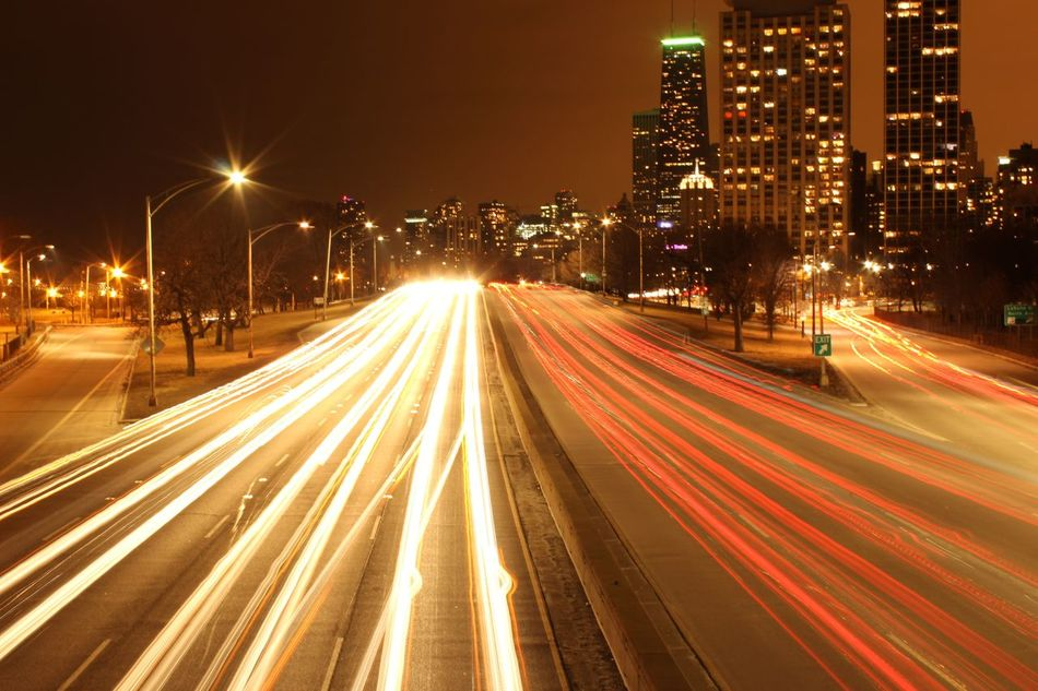 Last min rush Chicago Lakeshoredrive Traillights