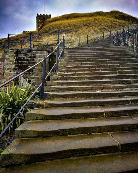 Whitby North Yorkshire 199 Steps Whitby Nature Steps And Staircases Sky Low Angle View