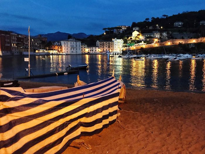 September Night Landscape In A Sea Town September Illuminated Water Water Reflections Bay Baia Del Silenzio Night Nautical Vessel Travel Destinations