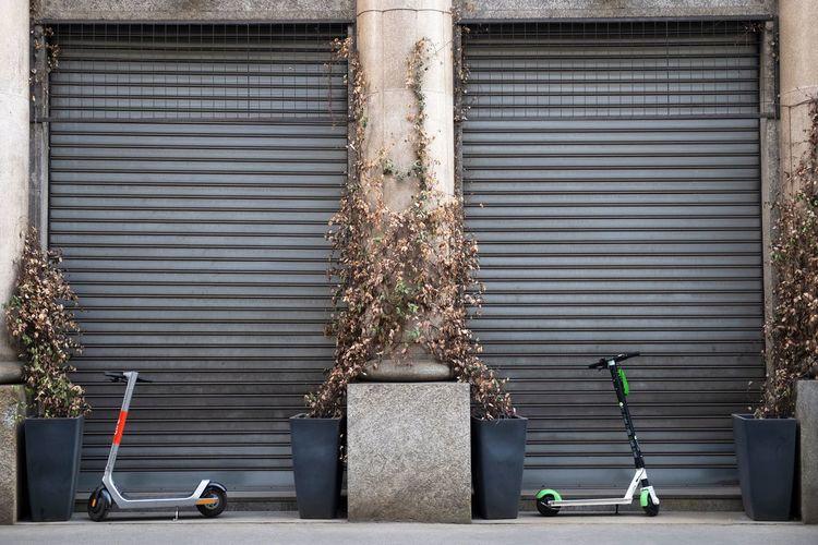 Metal grate of building in city
