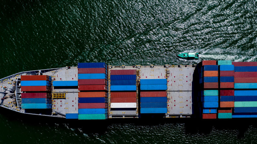 Aerial view container cargo ship in import export business service commercial trade logistic