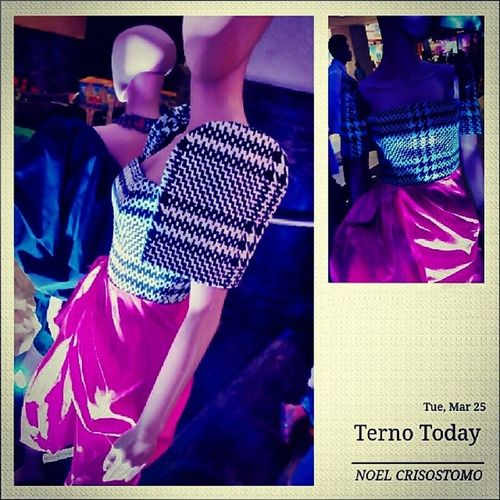 At Glorietta Mall Today's Terno Exhibit. Terno Butterflysleeves Couture Manila philippines