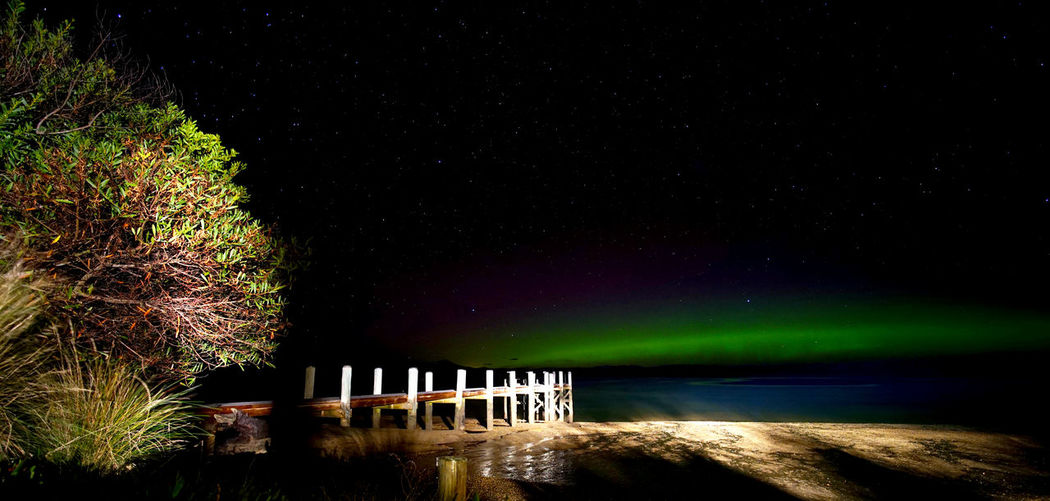 Aurora Aurora Australis Night Sky Pier Reflection Stars Tasmania Water