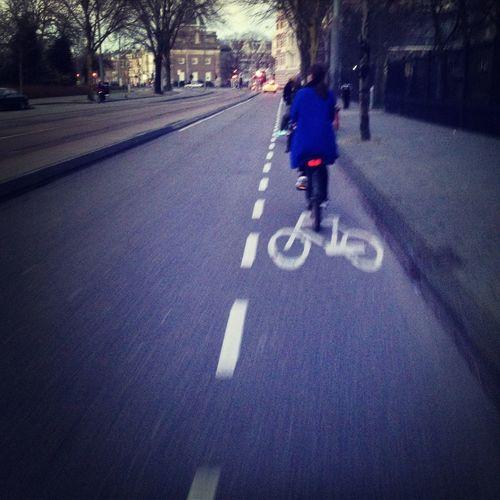 follow. blue coat. bike. amsterdam People Watching