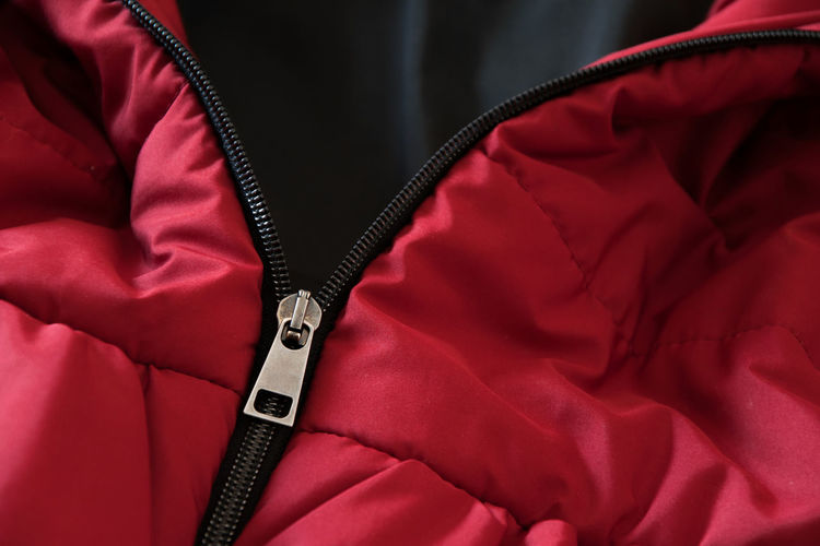 Fashion Industry Winter Close-up Clothes Clothing Coat Design Full Frame Indoors  Jacket Red Sew Sports Clothing Textile Zipper