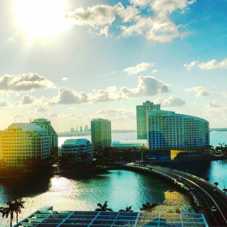 Biscayne Blue Building Exterior Architecture Built Structure Sky Cloud - Sky City Water Nature No People Cityscape Day Sunlight Outdoors City Life