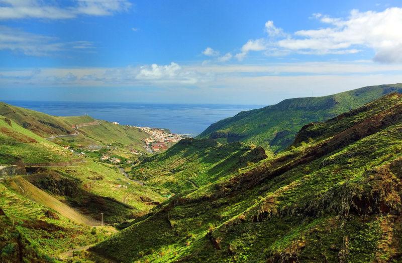 Landscape against calm blue sea and sky