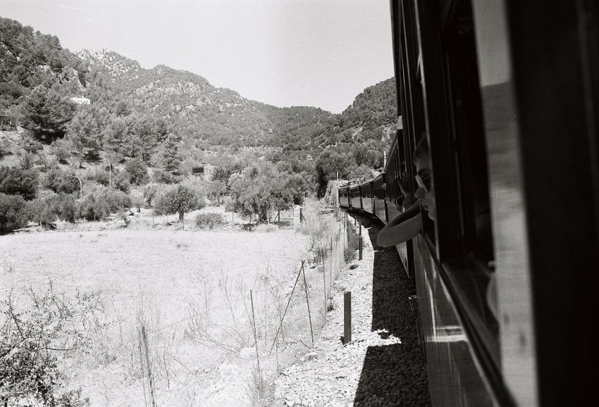 Adventure Childhood Day Memories Mountain Nature Outdoors Sky Train Tree Vacation Analogue Photography