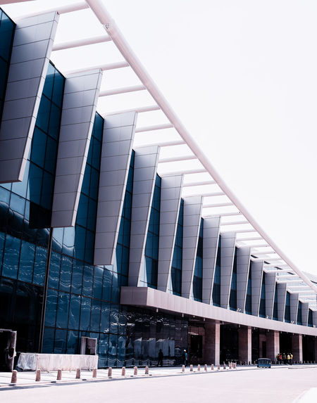 Architecture Blue Building Exterior Built Structure Clear Sky Curves Day Low Angle View Modern Modern Architecture New Outdoors Repetition Straight Lines The Architect - 2017 EyeEm Awards