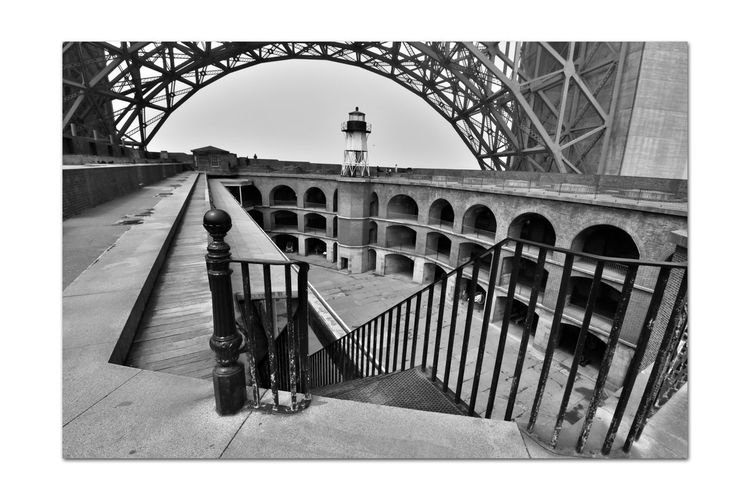 Fort Point 20 San Francisco CA🇺🇸 Fort Point U.S.Civil War Era Military Base Built 1861 Beneath South Anchorage Golden Gate Bridge Lighthouse Bridge Arch Barbette Tier Bnw_friday_eyeemchallenge Arches Officer's & Enlisted Men's Quarters Bnw_echoes_of_the_past Monochrome_Photography Monochrome Black & White Black & White Photography Black And White Black And White Collection  Stairway Parade Ground Casemates Architecture Wrought Iron Archway