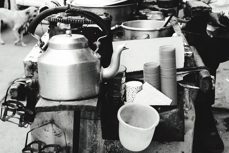 Tea kettle and cups at stall