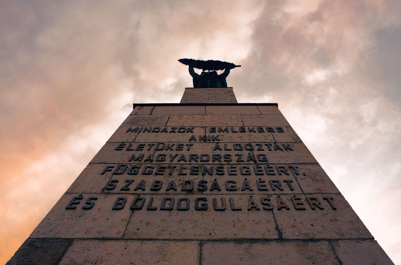 Budapest Historical Monuments Hungary Monuments Architecture Cloud - Sky Europe History History Architecture Low Angle View Memorial Monument No People Outdoors Sculpture Text The Past