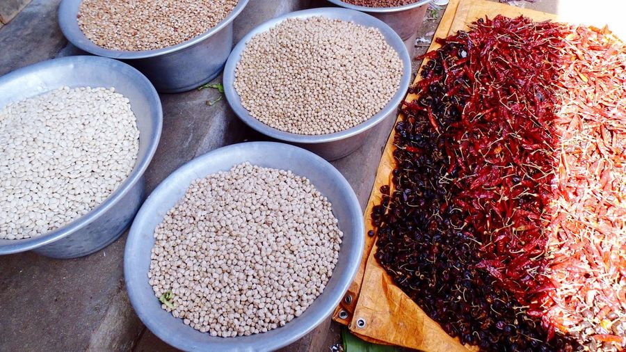 High angle view of spices and seeds in container