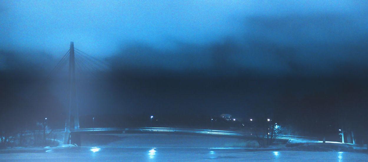 Mystery bridge Blue No People Cold Temperature Nightphotography Shadow Night Lights Outdoors Night View Illuminated Cityscape Nightshot Nightscape Composition EyeEmBestPics Nightcity Suspension Bridge EyeEm Best Shots EyeEm Best Edits Bridge - Man Made Structure Helsinkicity Noirphotography EyeEmNewHere Ice Built Structure Helsinki Finland