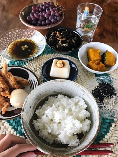 a frugal meal. Food And Drink Food Ready-to-eat Plate Bowl Rice - Food Staple Freshness Table Serving Size Healthy Eating High Angle View Indoors  Indulgence Directly Above Meal No People Close-up Day Frugal Meal Frugal Japanese Culture Breakfast Wasyoku Eye4photography  Healthy Food