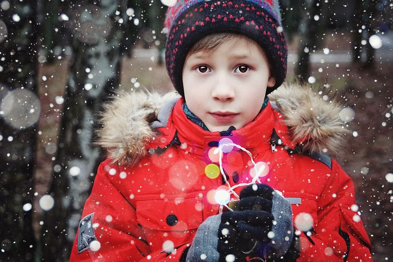 Portrait Of Boy Wearing Warm Clothing