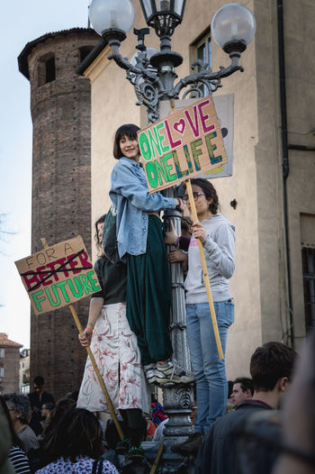 ClimateStrike Fridaysforfuture Fridays For Future Day Green Color Greta Thunberg Pollution March 12 2019. World Earth Save Protest Protesters March Savetheplanet Save The World Save The Nature Climate Climate Change Global Warming Warming Youth Young Adult Sign Make Our Climate Great Again Turin Streetwise Photography