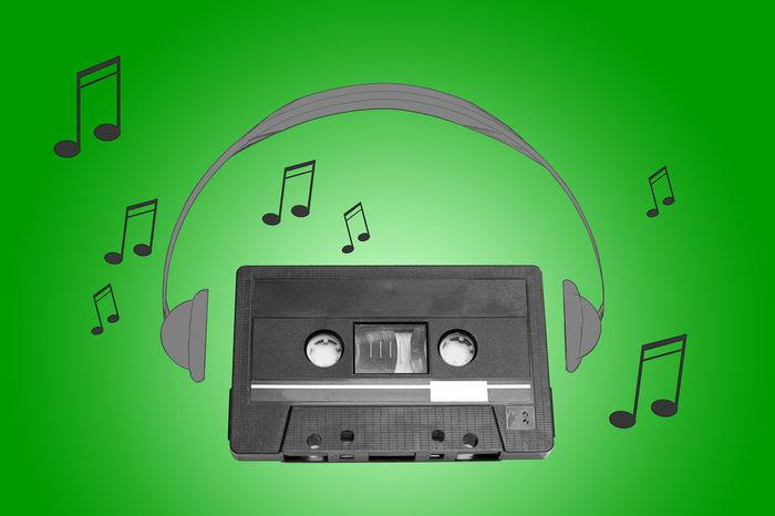 Audiotape and headphone draw on green background Audio Cassette Compact Cassette Draw Earphones Headphones Headset Music Phones Retro Shape Sound Tape Vintage