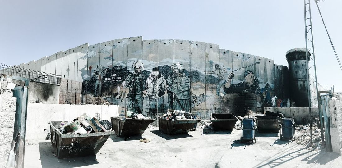 The separation wall in Aida refugee camp, Bethlehem, Palestine. Aida Camp Banksy Bethlehem Graffiti Middle East Occupied Palestine Palestine Palestinian Territory Refugee Refugee Camp Separation Wall Architecture Banksyart Day Graffiti Art Graffiti Wall Israeli Soldiers No People Occupied Occupied Palestinian Territory Occupied Territory Oppression Outdoors Refugees Watchtower